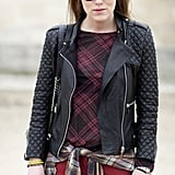 A modern play on punk in quilted leather and plaid.