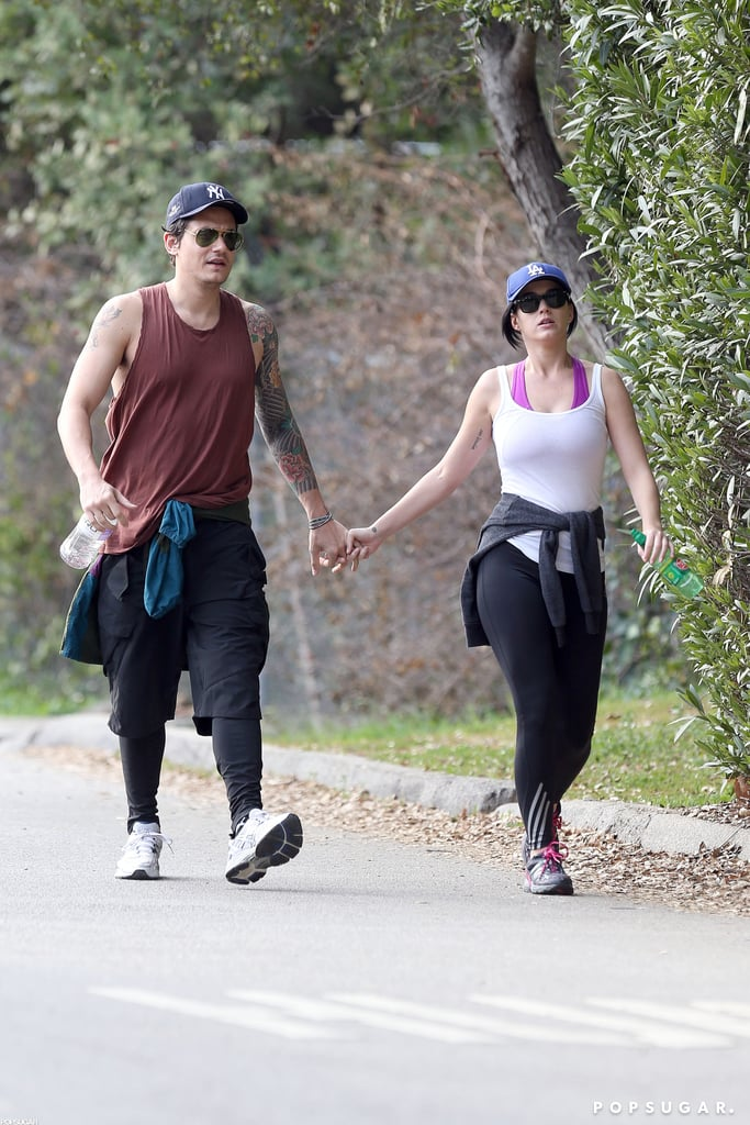 Katy Perry and John Mayer held hands on a walk.
