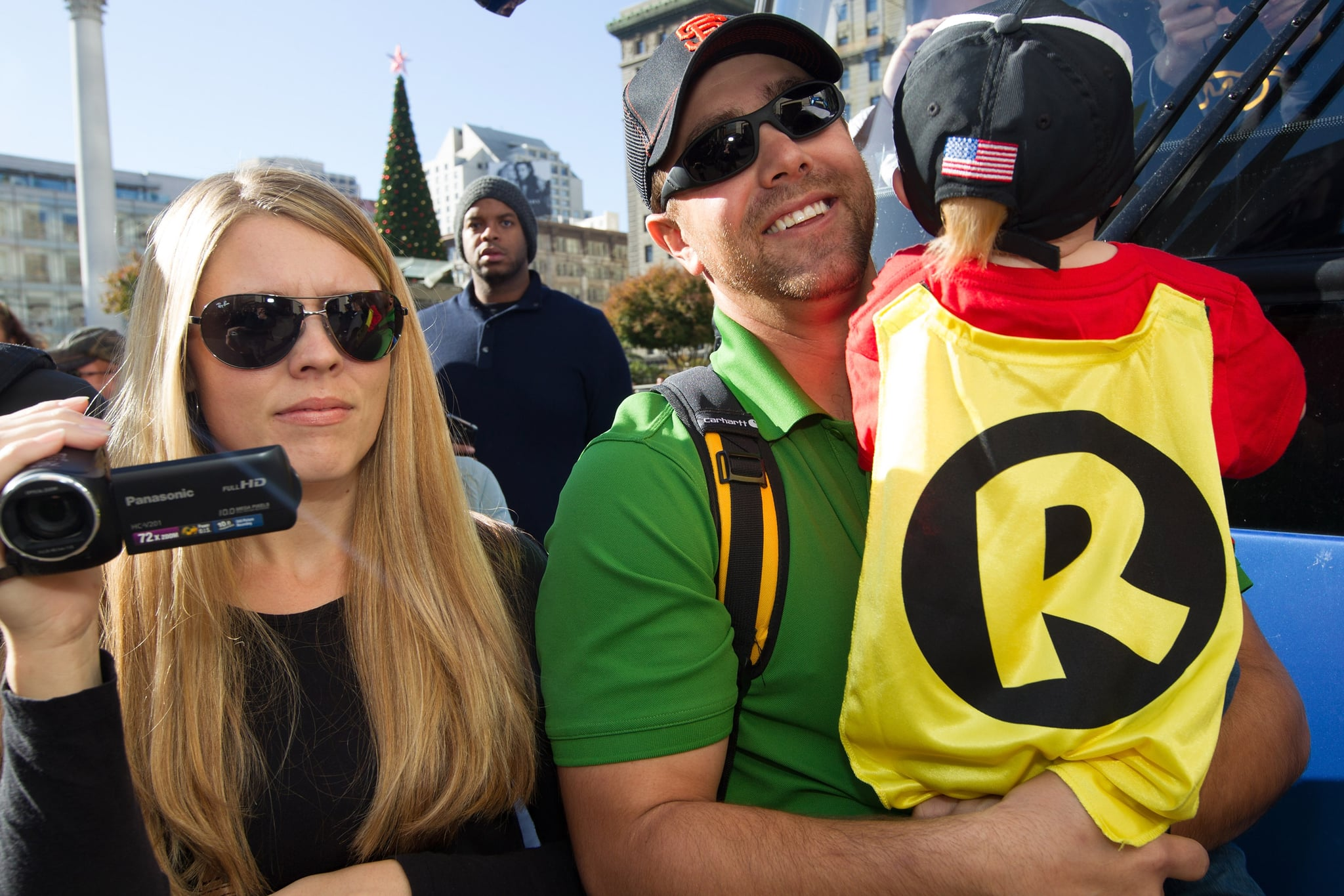 Miles's parents, Natalie and Nick Scott, kicked off the day with their little superhero, plus his sidekick younger brother, who was dressed as Robin.