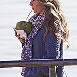 Gisele Bundchen sipped on fresh coconut water.