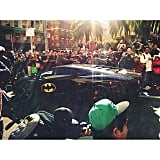 The Batmobile was spotted around town.  Source: Instagram user esg829