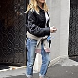 Jen Wore Her Boyfriend Cut Jeans With a Bomber Jacket