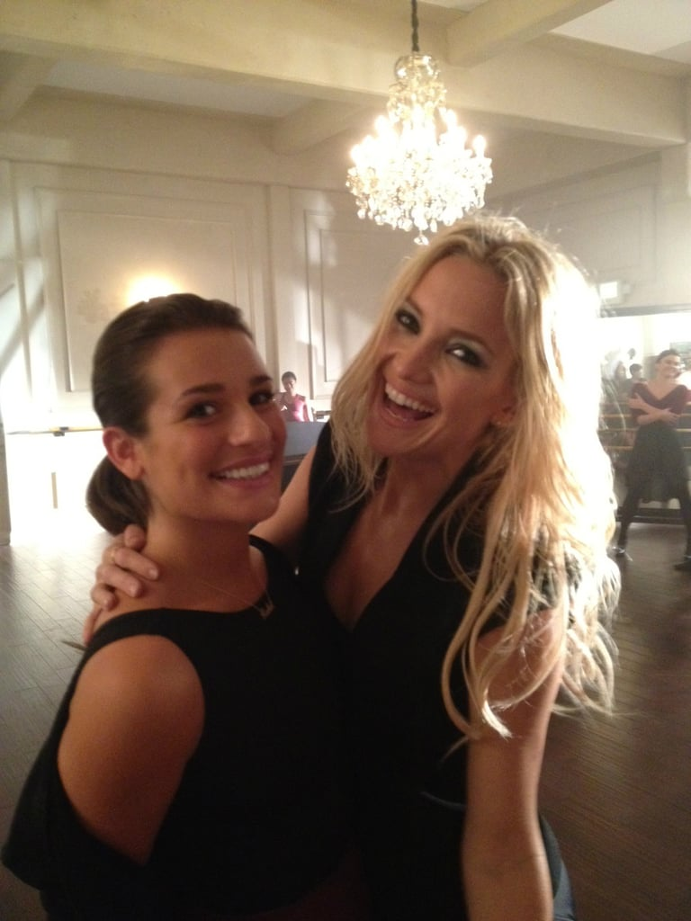 Kate Hudson joined Lea Michele on the set of Glee. Source: Twitter user MrRPMurphy