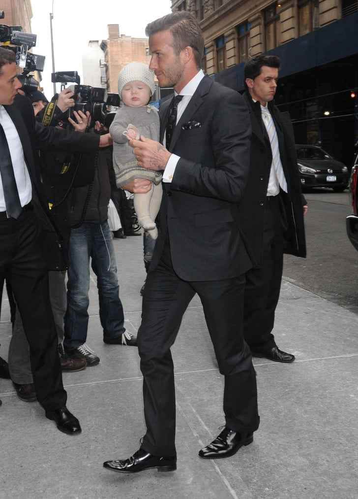 David Beckham Brought Harper Beckham Out 2012 Fall New York Fashion Week Pictures Popsugar
