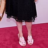 And if you're so inclined, you can purchase the same pair for under $100.  Streetzie's High Heel Bunny Slippers ($98)