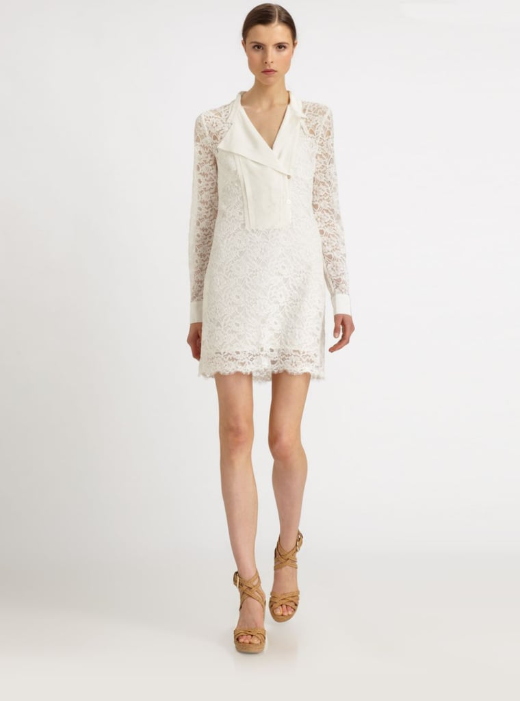 BCBG Max Azria Lunah White Lace Shirtdress