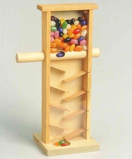Handcrafted Wooden Jelly Bean Machine Dispenser