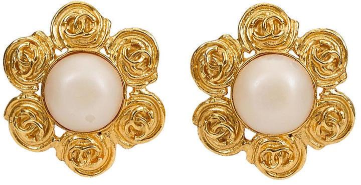 One Kings Lane Vintage Chanel Flower Pearl Clip Earrings