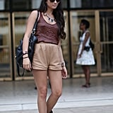 Mix and match neutrals and a headband get this street styler noticed.