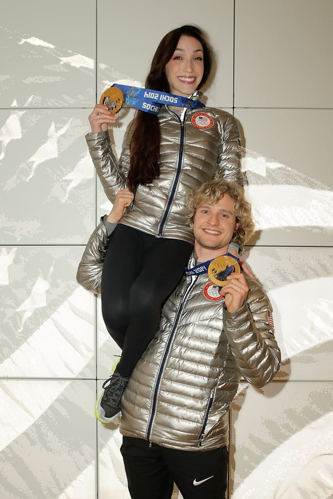Meryl Davis and Charlie White made history by becoming the first American ice dancers to win gold at the Olympics and posed for this adorable photo at the USA House in the Olympic Village.