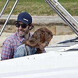 Sacha Baron Cohen was all smiles on a boat ride with Isla Fisher in Sydney.