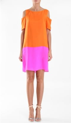 Embrace color for your next-day appearance in a bright little shift that'll have all eyes on you, no matter what your postnuptial plan is.  Tibi Silk Easy Dress ($350)