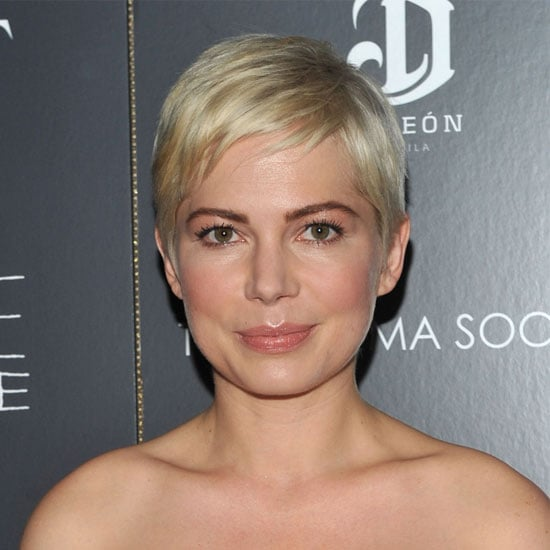 Michelle Williams Wears Dark Eyebrows With Platinum Hair