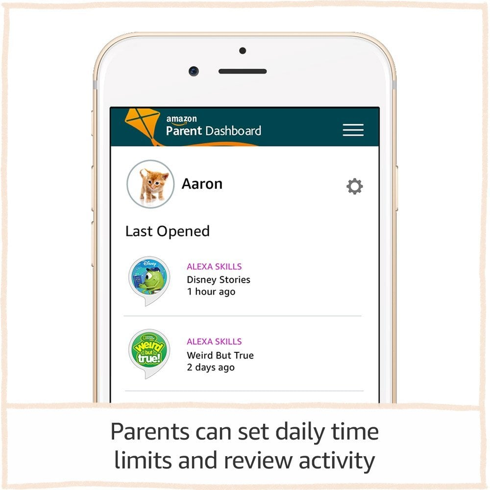 With a Parent Dashboard, adults can set bedtime time limits to protect against kids talking with Alexa late into the night, or simply pause Echo devices for dinner or homework time. They can also use the app to choose which services and skills kids can use.