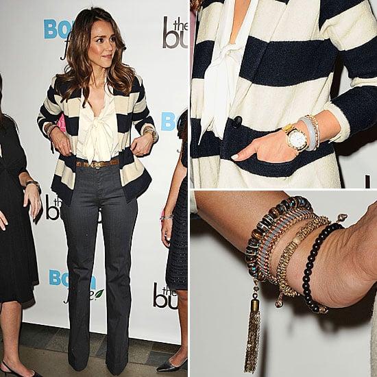 Jessica Alba Wearing Striped Blazer in LA