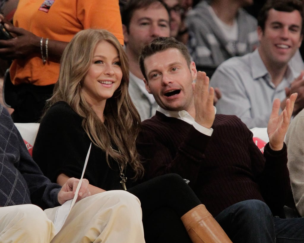 Julianne Hough and Ryan Seacrest sat courtside to watch the Lakers play the Golden State Warriors in October 2010.