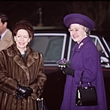 Margaret and Elizabeth were all smiles on Christmas Day in Sandringham in 1992.