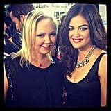 Lucy Hale snapped a pic with her friend on the red carpet at the AMAs on Sunday.  Source: Instagram user LucyHale89