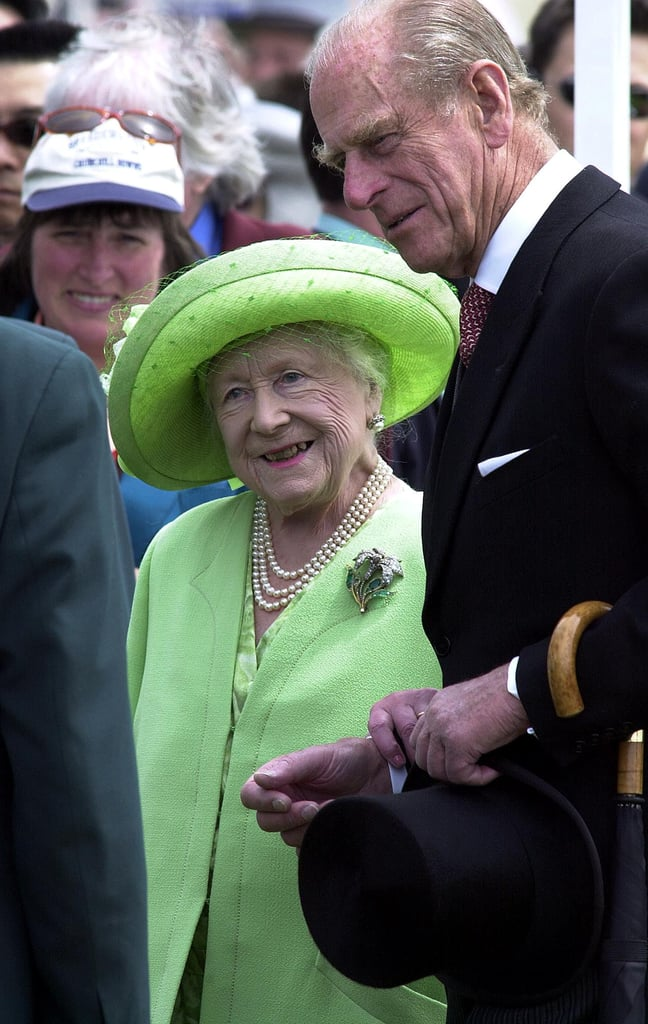 Prince Philip stood by Queen Elizabeth II's mother on Derby day in 2000.