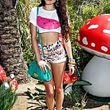 Eliza Doolittle paired cool kicks and floral shorts for Mulberry's BBQ.