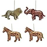 Enchanted Eve Sequin Elephants and Lions Christmas Ornament Set