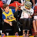 Rihanna celebrated a Lakers play with Leo Emanuel in LA in November 2013.