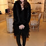 Leighton Meester mixed textures for her all black ensemble.