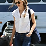 Keri Russell had a braid in her hair at LAX.