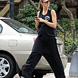 Gisele Bundchen showed off her baby bump in a black tank top.