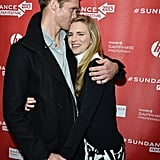 Alexander Skarsgard gave his coastar Brit Marling a kiss on the red carpet.