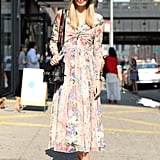 This sweet floral print gets anchored with Fall add-ons, like a tomboy fedora and a pair of ankle boots.
