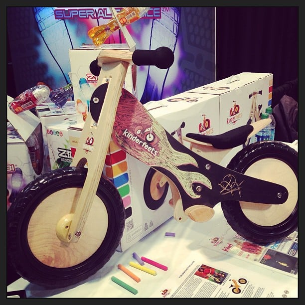 Kinderfeets is an awesome new line of wooden training bikes with chalkboard sides, so kids can customize their own ride.