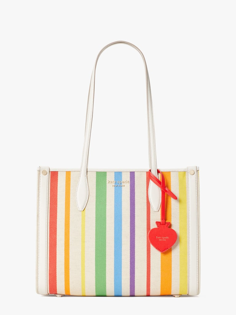 In honor of this year's Pride Month, Kate Spade New York is releasing a limited-edition capsule collection that's both adorable and has a great cause. Each piece from the collection features a rainbow color scheme, which is the universal symbol of pride. The Rainbow Collection includes the brand's famous totes and handbags, makeup pouches, a sweater covered with hearts in a rainbow color scheme, and even a rainbow-striped AirPod Pro case!  With Mental health and well-being being one of Kate Spade's social impact missions, the brand is continuing its partnership with The Trevor Project for the second year in a row. Twenty percent of the Rainbow Collection's profits will be going directly to the organization, which is the world's largest suicide prevention and crisis intervention organization for lesbian, gay, bisexual, transgender, queer, and questioning LGBTQ young people. The collection retails from $25 to $198 and is available in the US, Japan, and Europe. Keep reading to take a look at the pieces ahead.      Related:                                                                                                           Pride Month Is Here, and These 97 Products Will Have You Ready to Celebrate