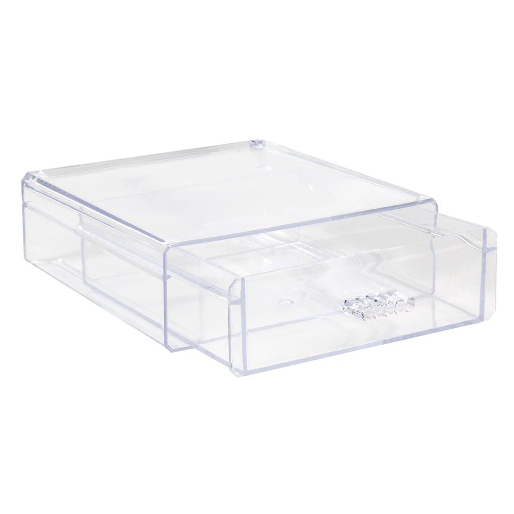 Clear Plastic Desktop Organizer Drawers ($1 each)