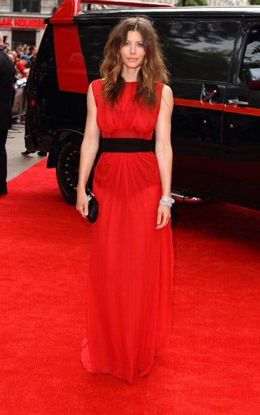 She proved she can do va-va-voom at the London premiere in this red-hot Giambattista Valli. Note the subtle peek-a-boo effect. Love. But did you love her bedhead hair?