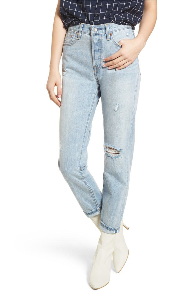 Levi's Wedgie Icon Fit Ripped High-Waist Ankle Jeans