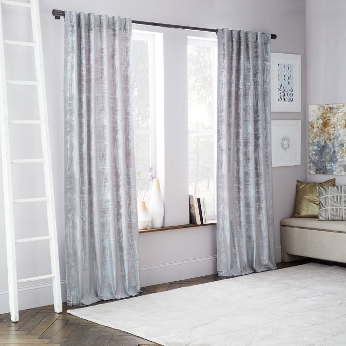 West Elm Crosshatch Velvet Curtain Feather Gray 99