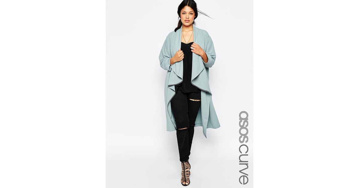 fe3aef195f946 Asos CURVE Duster Jacket With Waterfall Front