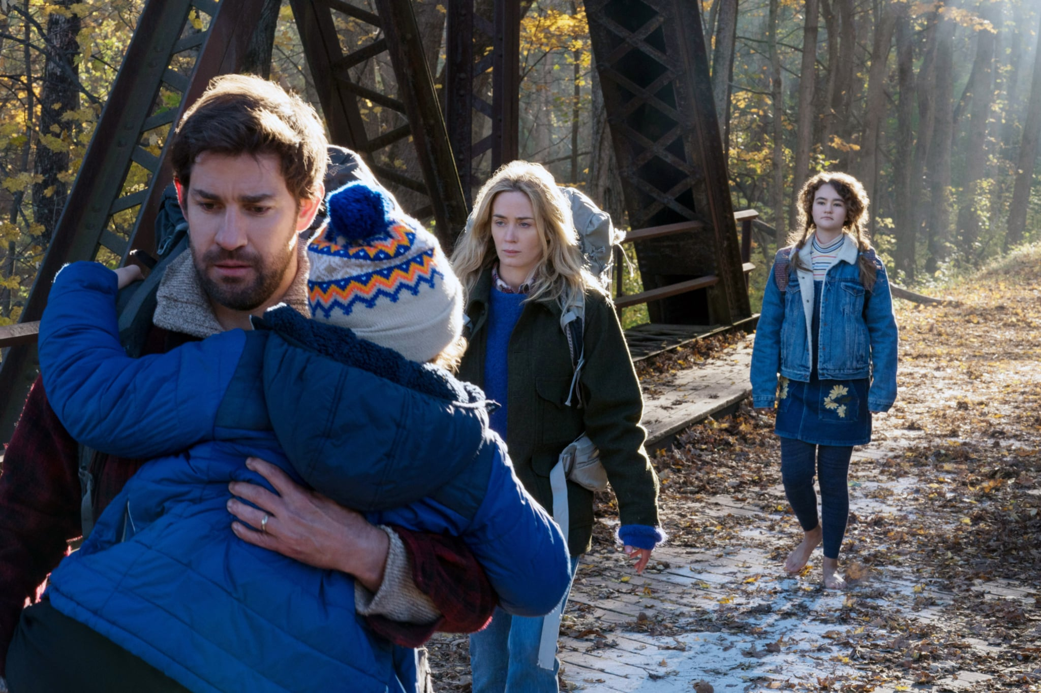 A QUIET PLACE, from left: Noah Jupe, John Krasinski, Emily Blunt, Millicent Simmonds, 2018. ph: Jonny Cournoyer /  Paramount /Courtesy Everett Collection
