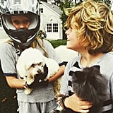 "Her kids were too cute in June 2015, when she shared a picture of Apple wearing a helmet alongside Moses and joked, ""Brother proof. Sort of."""