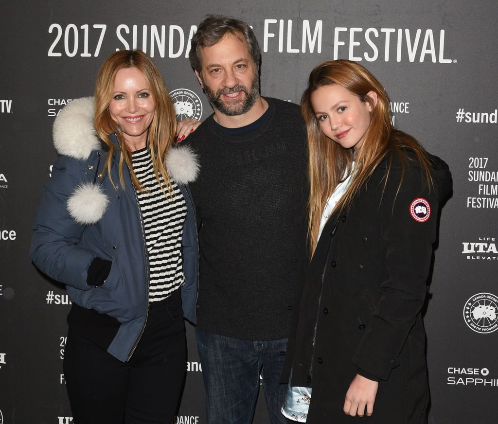 Leslie Mann and Judd Apatow have one of the cutest families in Hollywood, and on Monday, the brood showed off their close bond at the Sundance Film Festival in Park City, UT. Judd was on hand to celebrate his new film The Big Sick and had the support of his wife and 14-year-old daughter, Iris. The trio flashed sweet smiles for the cameras, and at one point, Leslie and Judd stepped back to oblige photographers with some solo shots of their daughter, who could not look more like her mom if she tried. Sadly, their 19-year-old daughter, Maude, was not in attendance, but she did share a selfie with her dad on Instagram a few days ago.      Related:                                                                                                           Judd Apatow Plays Instagram Husband and Snaps Photos of Leslie Mann on the Red Carpet