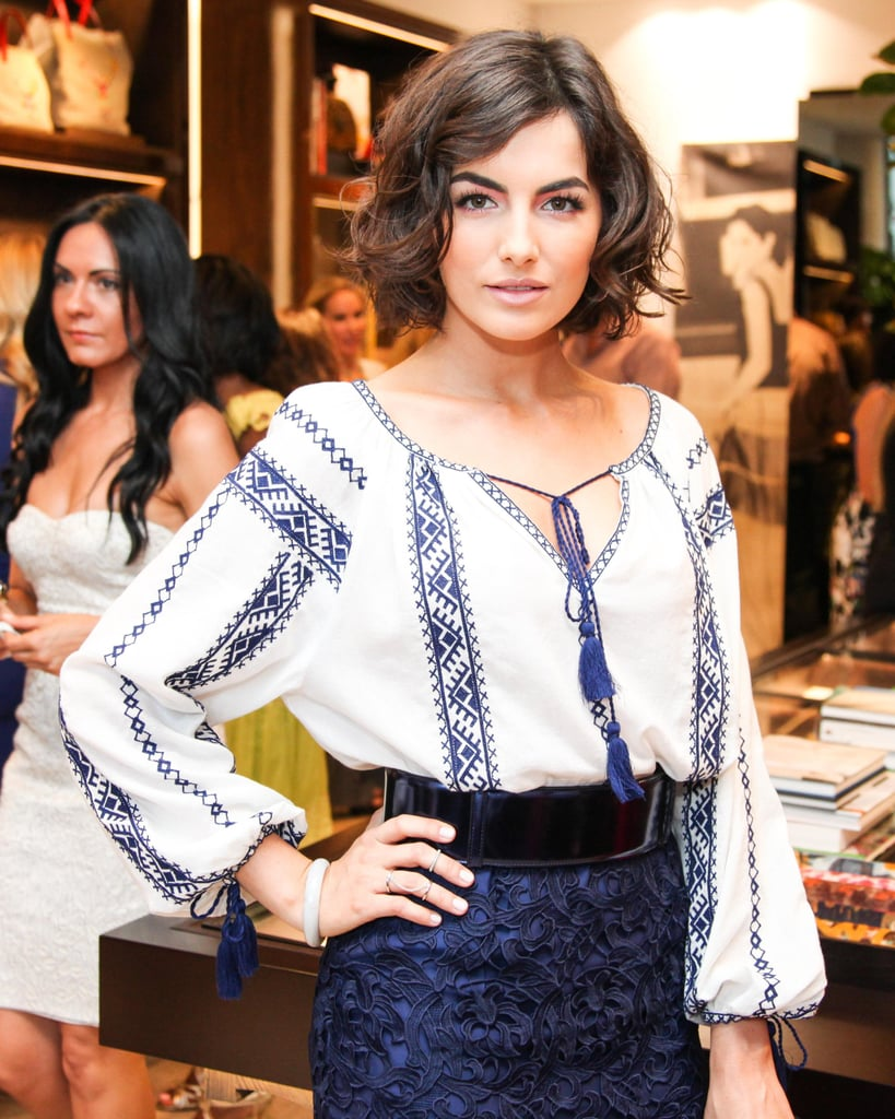 With her new bob styled in beautiful waves, Camilla Belle showed us how bold brows and a new Summer haircut are done.