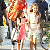 Katie holmes smiled while watching daughter Suri Cruise at Chelsea Piers in NYC.