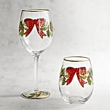Plaid Bow and Garland Painted Stemware ($8-$9, originally $10-$11)