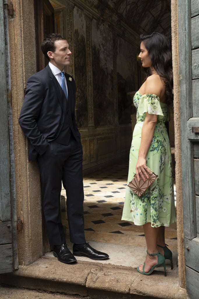 There are plenty of reasons to enjoy Love Wedding Repeat on Netflix: the funny plot, the gorgeous castle setting, and yes, the stunning fashion. Aside from the bride, Hayley's, show-stopping Elvira Gramano wedding gown, I was drawn to Olivia Munn's green midi dress the most while watching the film.  Although I'm not getting very dressed up these days, her off-the-shoulder springy ensemble is exactly what I want to be wearing once I ditch the athleisure, stay-at-home life. Sadly for me, Olivia's hairstylist Domingo Santoro confirmed the floral dress was custom-made by the movie's costume designer, Uliva Pizzetti. That said, there are still plenty of lookalikes available to shop and I might have to claim one for my own closet very soon. Keep reading to see more shots of Olivia's outift, and then browse a selection of copycat dresses below.