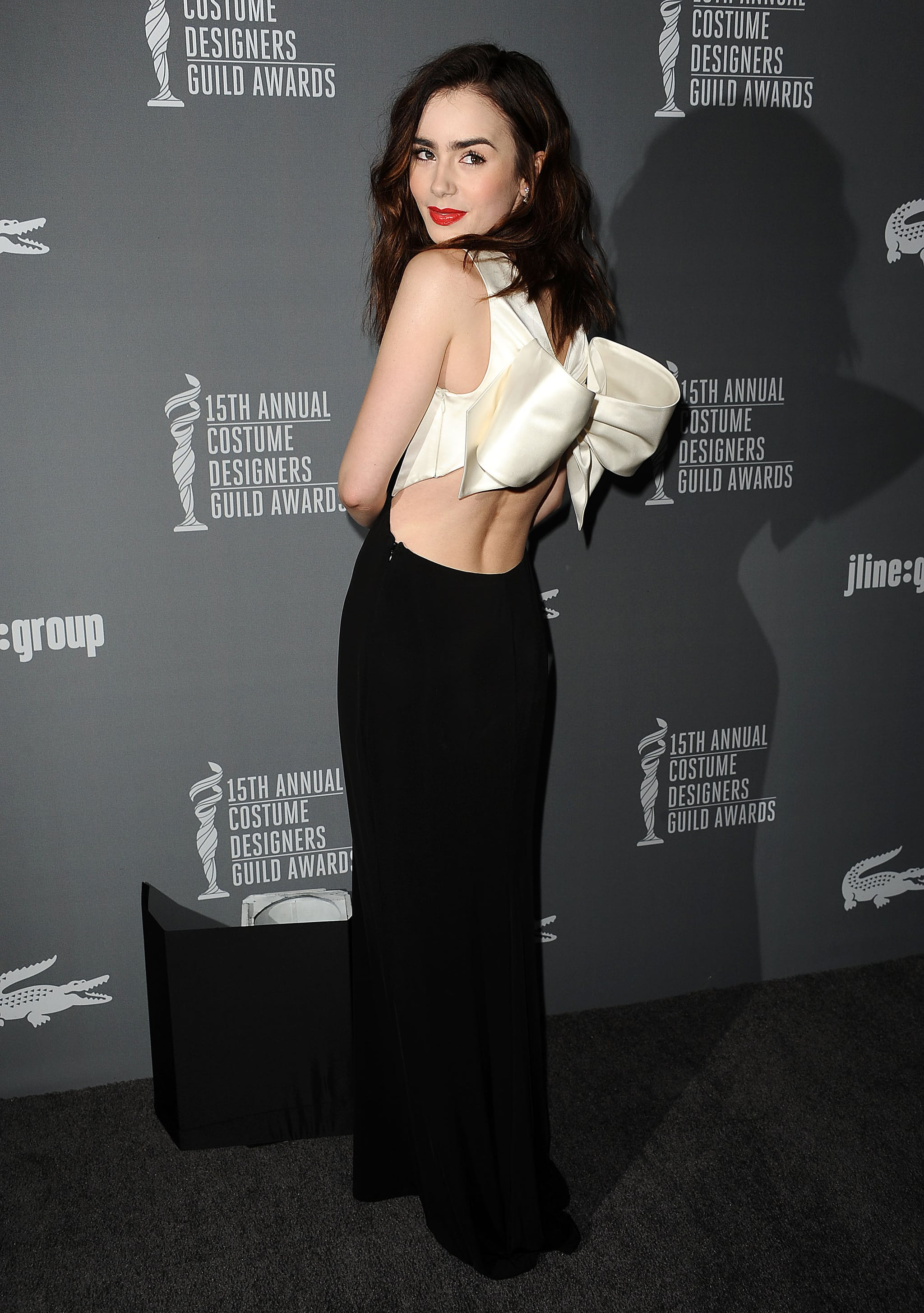 Lily Collins wore Paule Ka at the Costume Designers Guild Awards in Los Angeles.