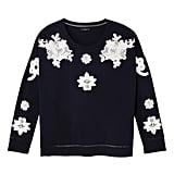 Navy and White Floral Lace Appliqué Sweat Top ($30)