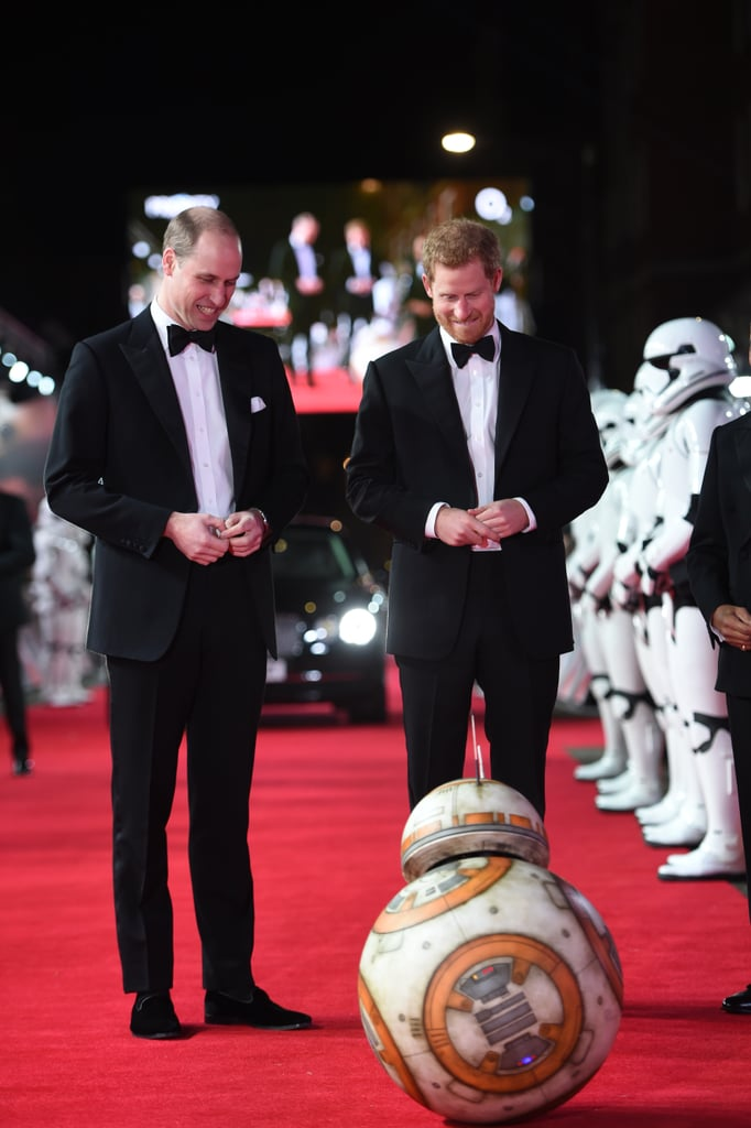 Prince William and Prince Harry Have a Ball With BB-8 While Celebrating Their Star Wars Cameo