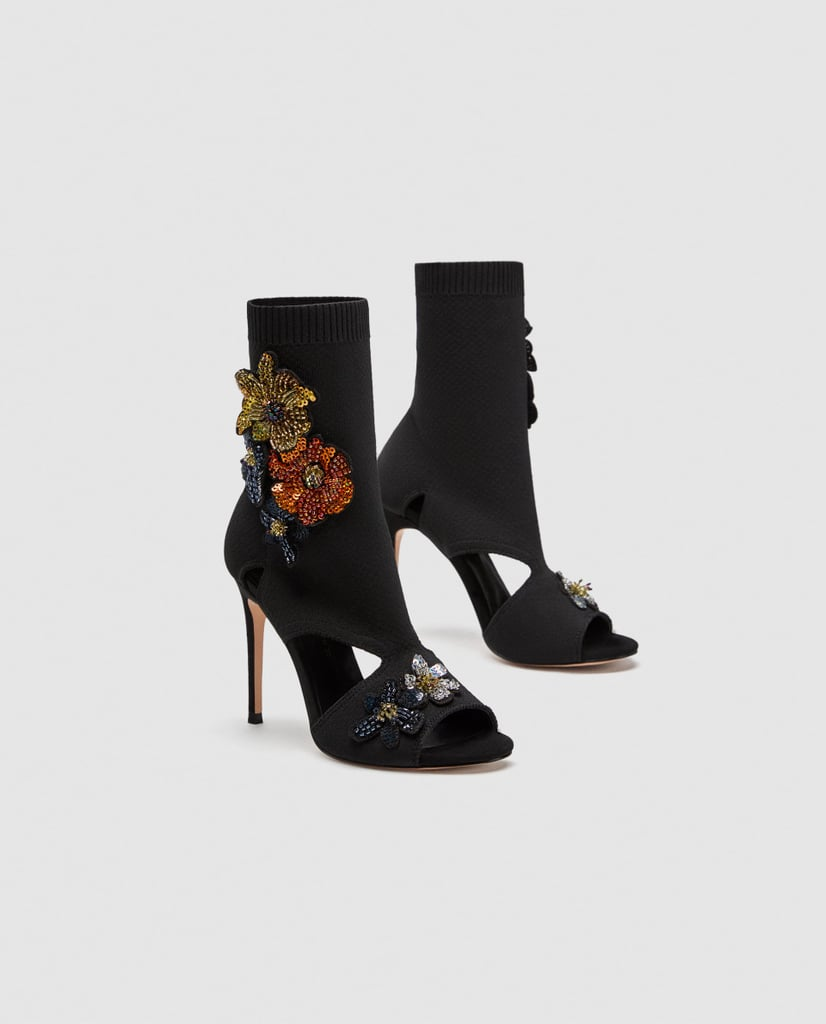Zara High Heel Sock Sandals With Floral Spring Shoe Trends 2018