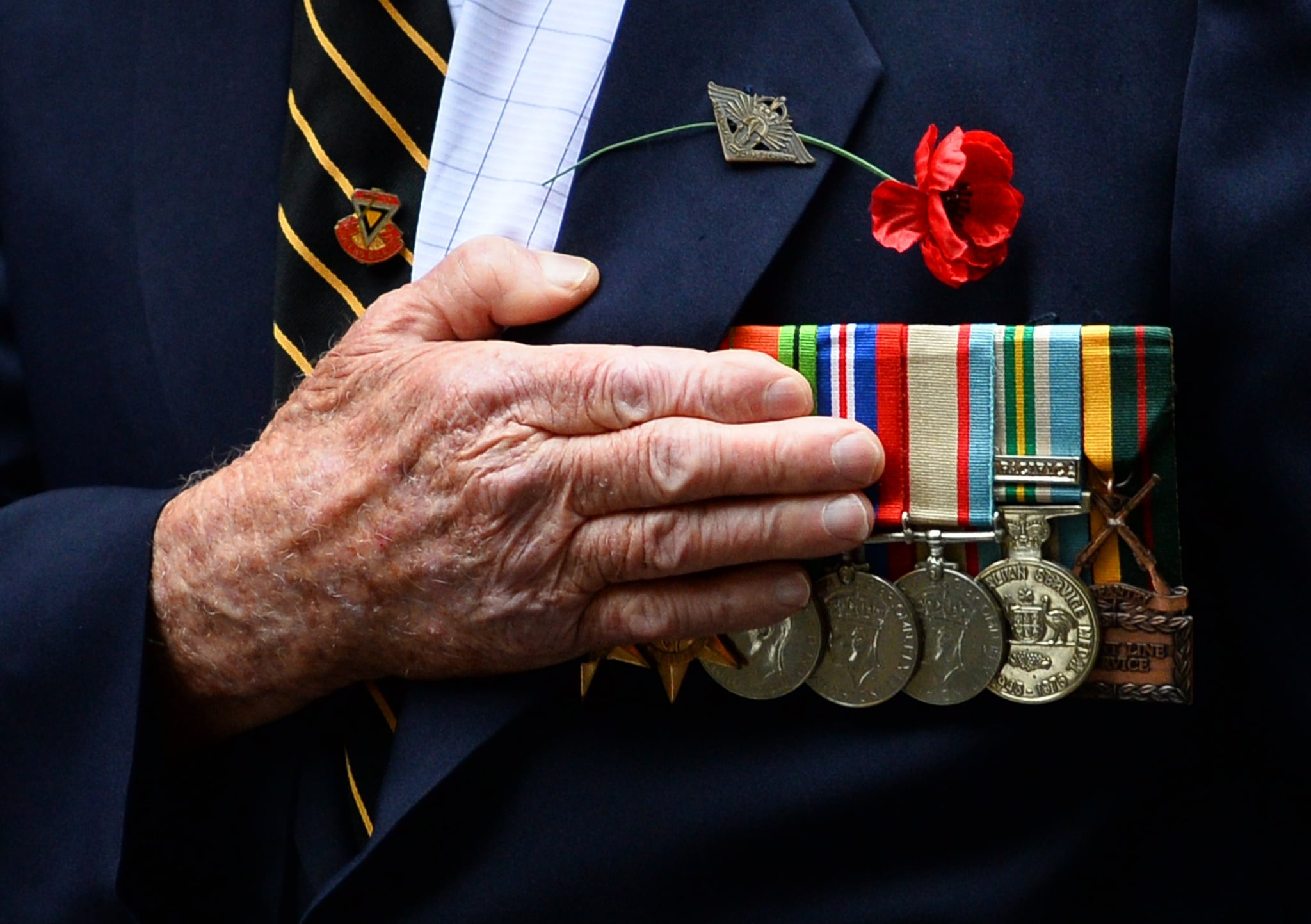 An Australian war veteran takes part in the annual ANZAC Day Parade in Sydney on April 25, 2014. Anzac Day commemorations are held on this day each year to mark the anniversary of the ill-fated landing of the Australian and New Zealand Army Corps (ANZAC) at Gallipoli in World War I. AFP PHOTO/Peter PARKS        (Photo credit should read PETER PARKS/AFP/Getty Images)